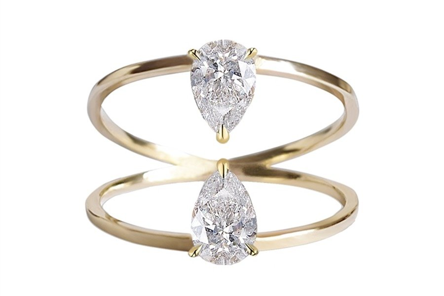 Double stone engagement ring trend